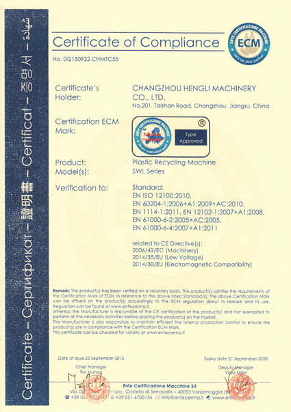 SWL series CE certification